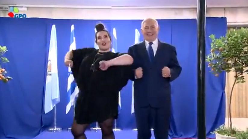 Netanyahu hace el 'baile del pollo' con la ganadora de Eurovisión