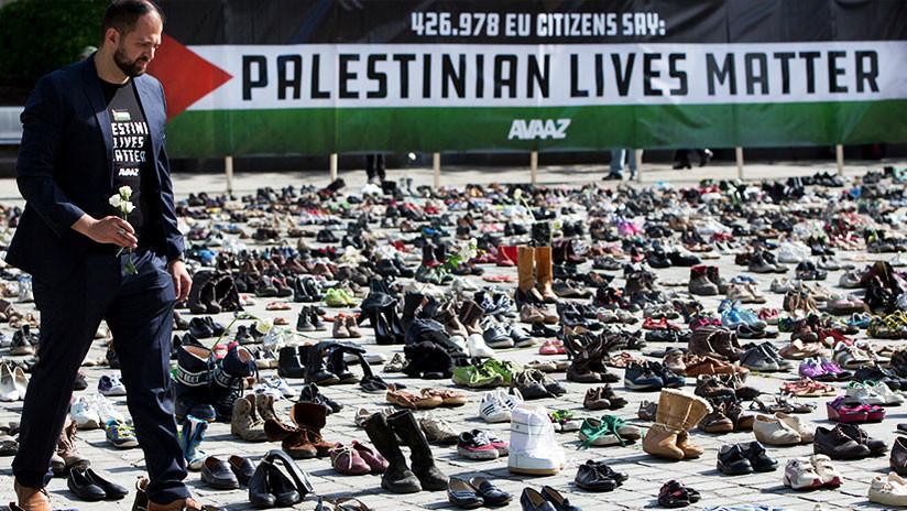 'Las vidas palestinas importan': Miles de zapatos inundan Bruselas para recordar a los asesinados