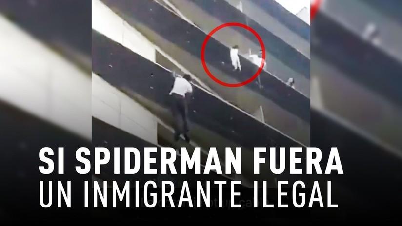 Un inmigrante ilegal trepa 5 pisos para salvar a un niño a punto de caer al vacío