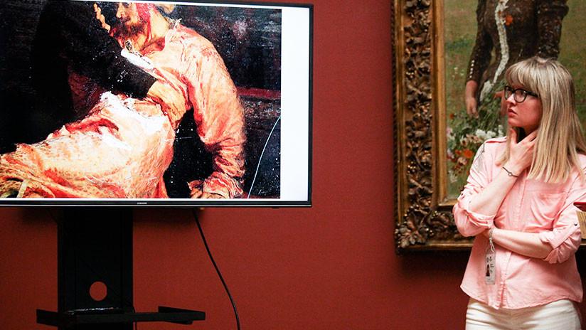 FOTO: Así quedó el cuadro 'Iván el Terrible y su hijo' tras el ataque de un vándalo