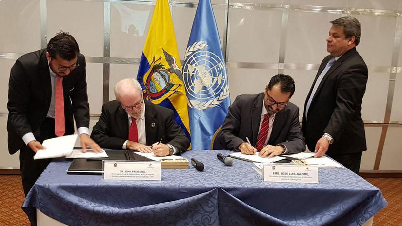 Ecuador firma convenio con la FAO con el que se compromete a erradicar el hambre en el país