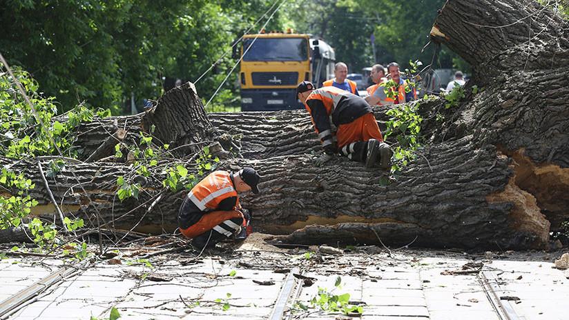 FOTOS, VIDEOS: Vientos huracanados arrancan todo a su paso por Rusia central