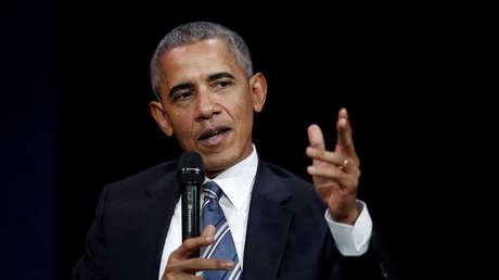 El expresidente estadounidense Barack Obama habla en una conferencia en Francia. Diciembre del 2017.