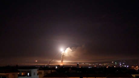 El disparo de misiles, visto desde Damasco, el 10 de mayo de 2018