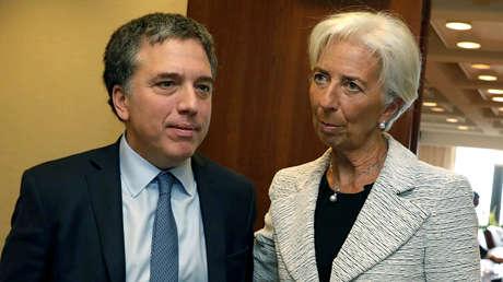 La directora del FMI, Christine Lagarde, y el ministro de Hacienda argentino, Nicolás Dujovne. 10 de mayo de 2018.