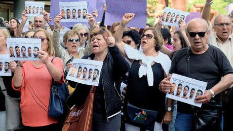 Protesta por la sentencia a los acusados de la violación grupal en San Fermin de 2016. Valencia, 27 abr 2018.