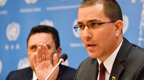 Jorge Arreaza, canciller venezolano, durante una rueda de prensa en Naciones Unidas. Nueva York, 25 de abril de 2018.