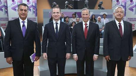 Jaime Rodríguez, Ricardo Anaya, José Antonio Meade y Andrés Manuel López Obrador durante el segundo debate entre candidatos presidenciales en México. Tijuana, México, 20 de mayo, 2018.
