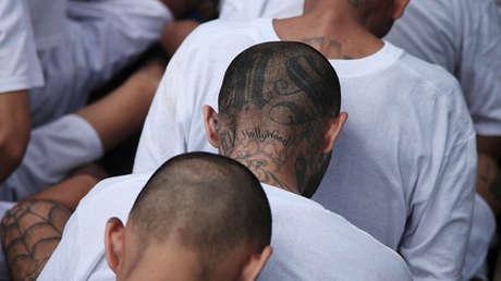 Miembros de la Mara Salvatrucha esperan ser escoltados al llegar a la cárcel de máxima seguridad en  El Salvador.