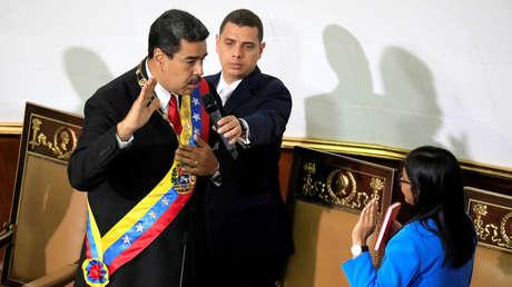 El presidente de Venezuela, Nicolás Maduro, jura su cargo ante la ANC en el Palacio Federal Legislativo. Caracas, 24 de mayo de 2018.