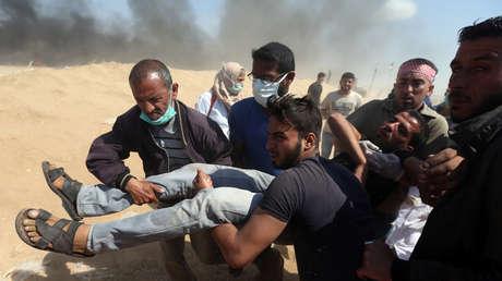 Un manifestante palestino herido, 15 de mayo de 2018.