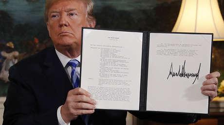 Donald Trump anuncia la retirada de EE.UU. del acuerdo nuclear iraní en la Casa Blanca, Washington, el 8 de mayo de 2018.