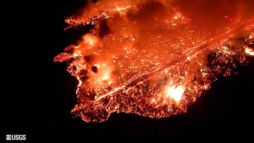 VIDEO: Reconocimiento nocturno del progreso de la lava que 'derrite' la tierra en Hawái