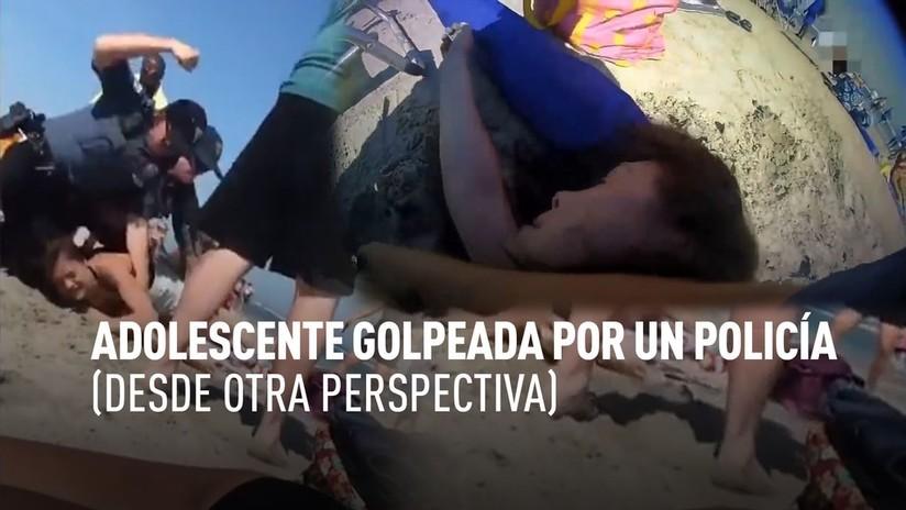 El incidente de la joven que fue golpeada por un policía en la playa, desde la cámara del policía