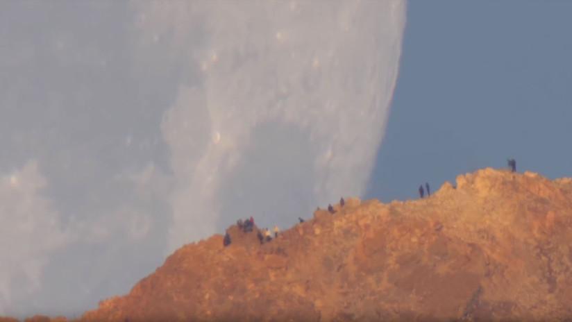 Video de la NASA: Una Luna gigantesca cae sobre la isla de Tenerife