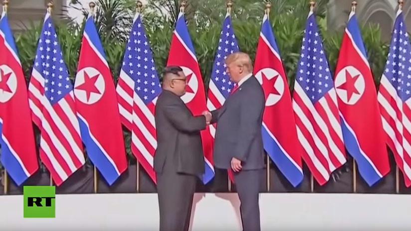Así reportó la TV norcoreana el encuentro entre Kim Jong-un y Trump