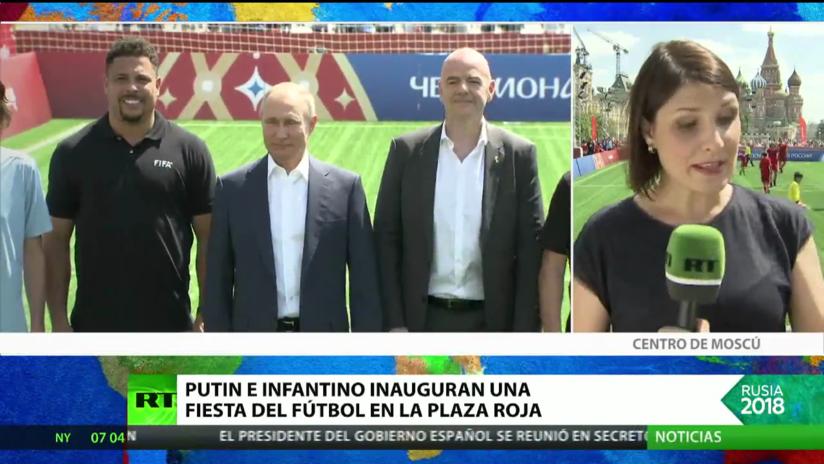 Putin e Infantino inauguran una fiesta del fútbol en la Plaza Roja