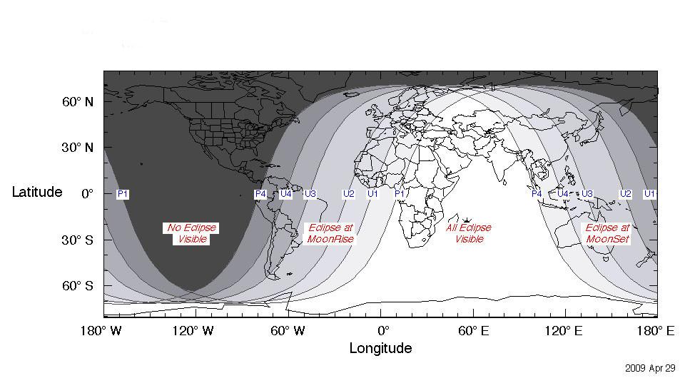 Las zonas blancas indican las mejores ubicaciones para observar el eclipse lunar.