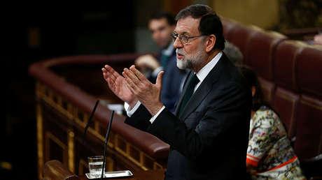 El presidente español, Mariano Rajoy, durante el debate de moción de censura. 1 de Junio de 2018.