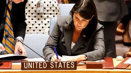 La embajadora de EE.UU. ante Naciones Unidas, Nikki Haley. Nueva York, 1 de junio de 2018.