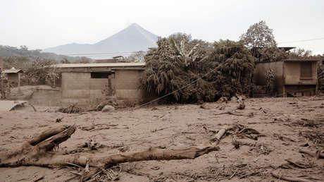 Una zona afectada por la erupción del Volcán de Fuego, San Miguel Los Lotes, Escuintla, Guatemala, el 4 de junio de 2018.