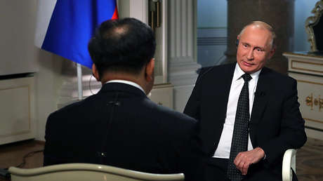 El presidente ruso, Vladímir Putin, concede una entrevista a la Corporación de Medios de Comunicación de China, 6 de junio de 2018