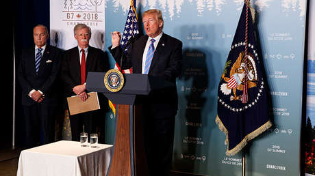 El presidente de EE.UU. Donald Trump en una rueda de prensa durante la cumbre del G7 en Canadá, 9 de junio de 2018