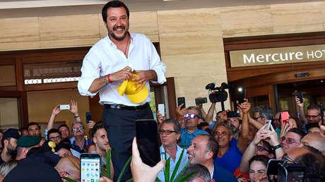 El vicepresidente italiano Matteo Salvini en un acto de campaña en Catania. Italia, 3 de junio de 2018.