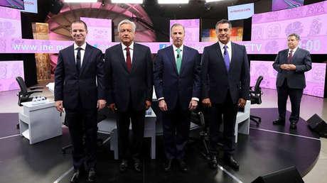 Los candidatos a la presidencia de México en el tercer debate presidencial. Mérida, Yucatán, México, 12 de junio de 2018.