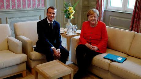 Reunión de la canciller alemana, Angela Merkel, y el presidente francés, Emmanuel Macron en Meseberg (Alemania), 19 de junio de 2018.