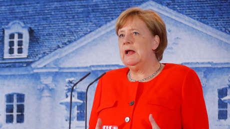La canciller alemana, Angela Merkel, en el palacio de Meseberg (Alemania), el 19 de junio de 2018