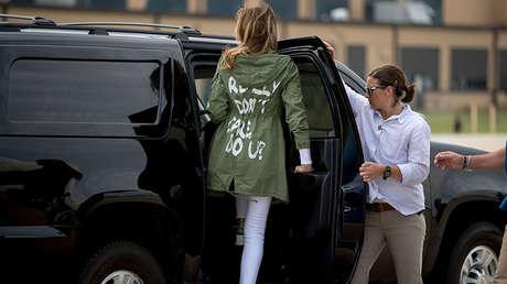 La primera dama de EE.UU., Melania Trump, en la Base Aérea Andrews en Maryland, el jueves 21 de junio de 2018.