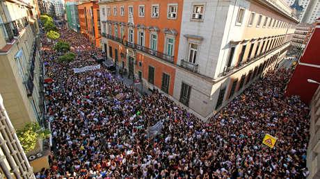 Protesta contra la puesta en libertad provisional de los miembros de 'La Manada'. Madrid, 22 de junio de 2018.