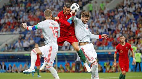 Partido entre Portugal y España, en el Estadio Fisht, Sochi, Rusia, el 15 de junio de 2018.