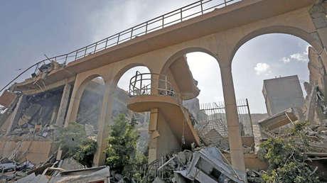 Restos del Centro de investigación científica en el distrito de Barzeh, al norte de Damasco.