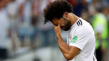 El jugador egipcio Mohamed Salah tras el partido entre Arabia Saudita y Egipto en la ciudad rusa de Volgogrado, el 25 de junio de 2018.
