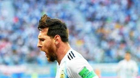Lionel Messi celebra su gol en el partido Argentina- Nigeria en San Petersburgo (Rusia), el 26 de junio de 2018.