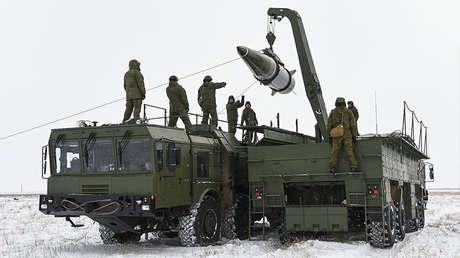 Militares del Distrito Militar Occidental realizaron un lanzamiento exitoso del misil balístico Iskander-M en la región de Astracán, 5 de marzo de 2018