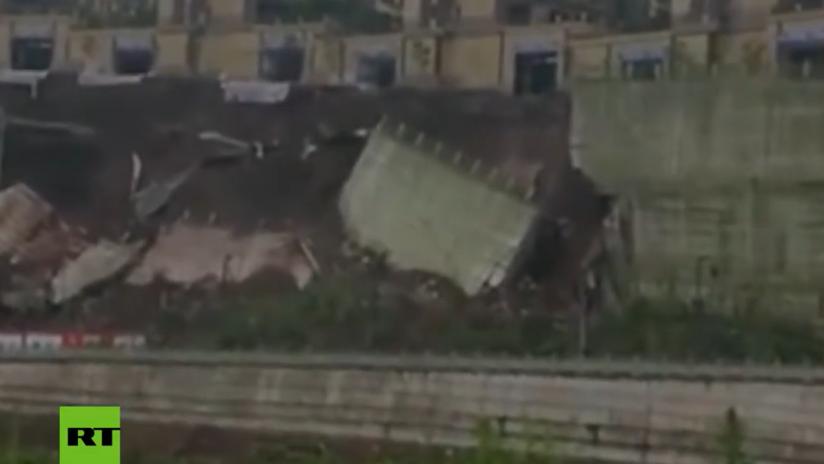 VIDEO: Impresionante derrumbe de una carretera en China