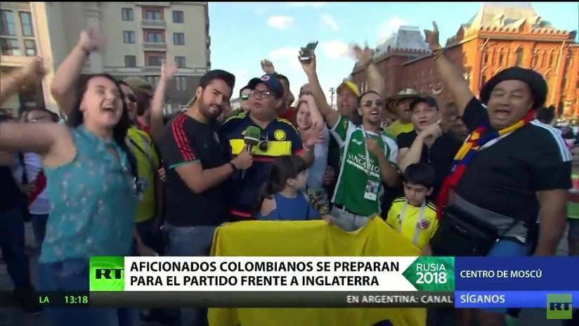 Aficionados colombianos se preparan para el partido frente a Inglaterra