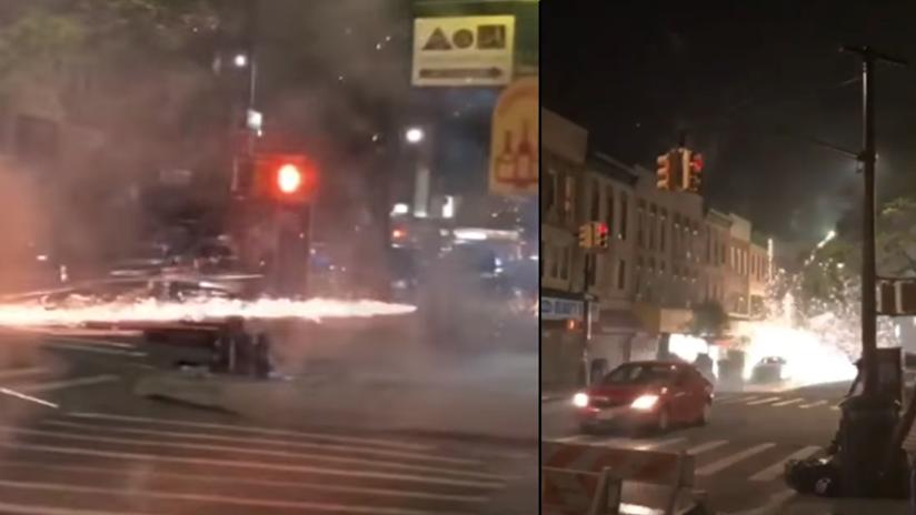 VIDEO: Una mujer genera el pánico al lanzar fuegos artificiales contra transeúntes en EE.UU.