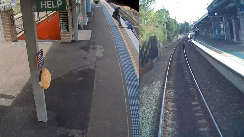 VIDEO: Retira a un hombre de las vías justo antes de que llegue el tren