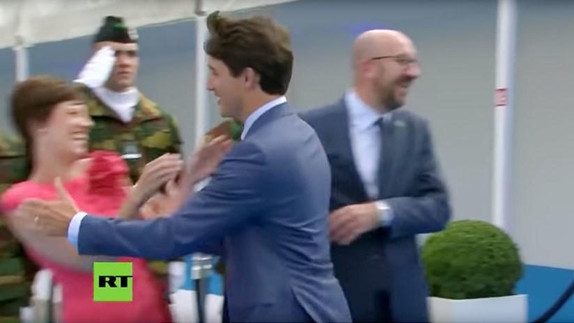 """""""Días sin avergonzar a Canadá: 0"""": Trudeau ignora a su homólogo belga para besar a su pareja (VIDEO)"""