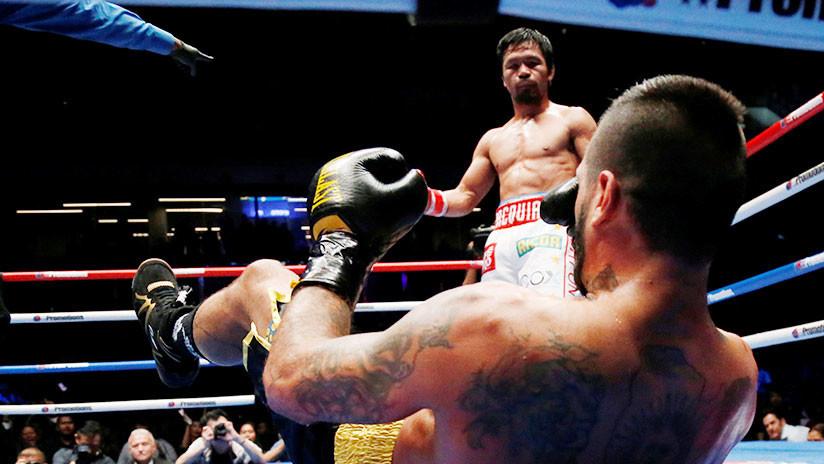 El filipino Manny Pacquiao, campeón mundial de boxeo tras derrotar a Lucas Matthysse
