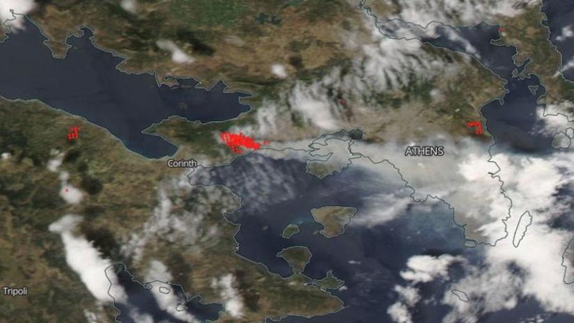 Imágenes de la NASA muestran la devastación de los incendios en Grecia (FOTOS, VIDEO)
