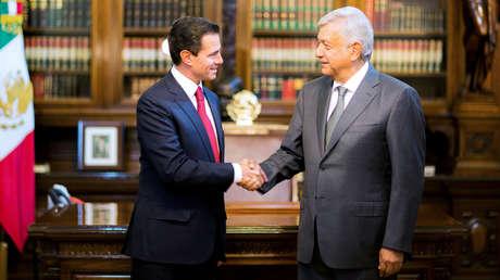 El presidente de México, Enrique Peña Nieto, y el presidente electo, Andres Manuel Lopez Obrador. Ciudad de México, 3 de julio de 2018.