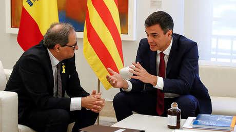 El presidente español Pedro Sánchez y el presidente de la Generalitat, Quim Torra. 9 de Julio, 2018