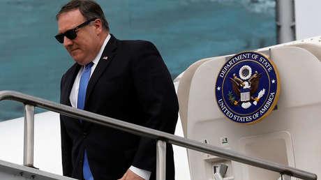 El secretario de Estado estadounidense, Mike Pompeo, a su llegada a Ciudad de México, 13 de julio de 2018.