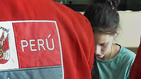 Patricia Aguilar tras su rescate en una región selvática de Perú. 5 de julio de 2018.