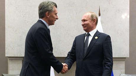 Vladímir Putin y Mauricio Macri en Johannesburgo, Sudáfrica, 26 de julio de 2018